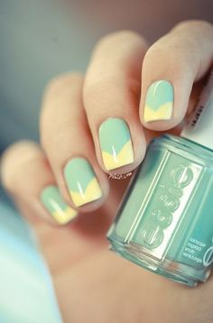 Mint + yellow V french manicure