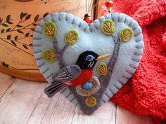 Nesting Robin Ornament by SandhraLee on Etsy, $18.00