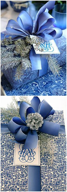Gift Wrapping ● Inspiration ● Blue by Carolyne Roehm