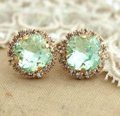 clear mint, mint green, crystal stud, diamond, stud earrings, vintage earrings studs, green seafoam, vintage inspired, shabby vintage