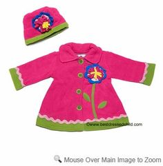 Pink Fleece Flower Coat and Matching Hat