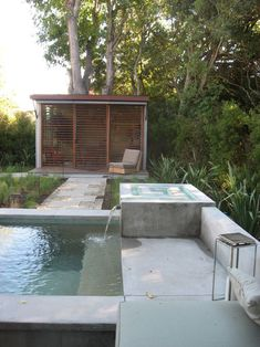 modern gardens, small pools, backyard office, fountains, tiny houses