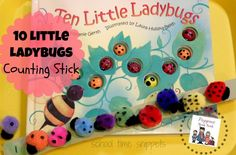 Make a DIY Ladybug Counting Stick to go along with the book, 10 Little Ladybugs.  Fun Preschool activity!