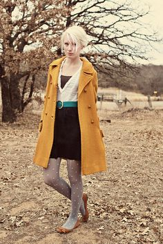 LOVE: the polka dot tights, the mustard yellow overcoat, and the teal belt.