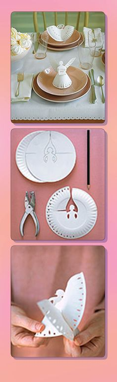 Martha's Paper-Plate Angel: Trace a paper angel shape onto a plate with a fluted edge, + cut out with a utility knife. two cuts for wings are different, one made from inside out, other from outside in. Embellish edge of plate with one or two decorative hole punches. With angel facing you, shape her skirt into a circle; slide outside cut over inside one to make wings. Curl some paper around a narrow rod, such as a skewer, + make a name card. Secure it in her hands with a dab from a glue stick.