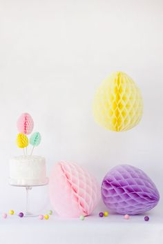 Love these #pastel #Egg shaped honeycomb poms #EasterDecor #Easter