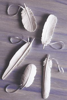 Feathers made from self drying clay