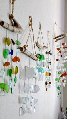 Sea glass mobiles. These are a stunning way to capture a seaside visit.
