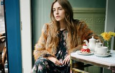 Faux fur coat, dress