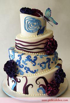 Topsy Turvy Fantasy Flower Wedding Cake