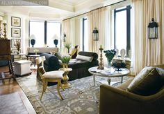 Living room with multiple uses designed by Susan Ferrier   Atlanta Homes  Lifestyle