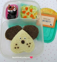 Bento School Lunches: Puppy Love Valentine's #bento. #Valentines @Kelly Lester / EasyLunchboxes @Lunchbox Love from Say Please