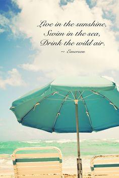 ......live in the sunshine, swim in the sea, drink the wild air.  -Emerson