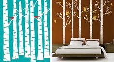 DIY Painted Birtch Tree Wall Forest Mural