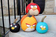 bird pumpkin, idea, minion, painted pumpkins, craftberri bush, birds, angri bird, kid, halloween