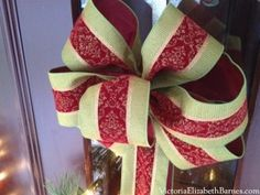 DIY bow tutorial.   How to make a large Christmas bow out of wired ribbon for your wreath, door, tree
