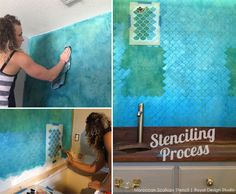 How to stencil a bathroom wall with the Moroccan Scallops wall stencil from Royal Design Studio