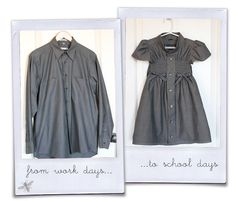 Daddy dress shirt made into little girls dress. Going to try this sometime (as soon as I get my elastic thread)