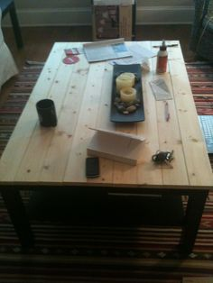 The Feminist Mystique: DIY Rustic Wood Coffee Table/Farm Table    Probably how we're going to transfer our coffee table...eventually