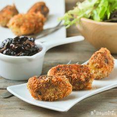 Croquetas de puerro y tomillo con salsa de arándanos - L'Exquisit