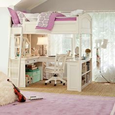 Great space-saving idea for kid's room.  Can do a girl or boy version depending on the colors. teen rooms, bunk beds, daughters room, loft, kid rooms, decorating kids rooms, dream bed, bedroom, girl rooms