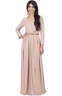 Koh Koh Womens V-Neck Long Sleeve Elegant Cockatil Evening Formal Maxi Dress