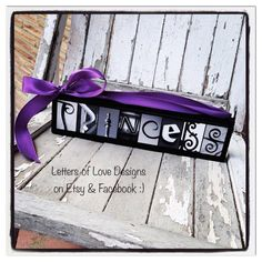 PRINCESS Mini Wood Sign with Pink or Purple Ribbon.  Elsa, Cinderella, Belle, Snow White, for little girl birthday, baby shower, Christmas gift and more.  Photo letter Art, Alphabet Pictures.