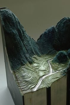 Carved Book Landscapes by Guy Laramee #Sculpture #Book #Upcycle