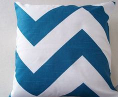 "White and Teal Chevron Throw Pillow Cover 14"" Square by CallieZoey for $12.00"