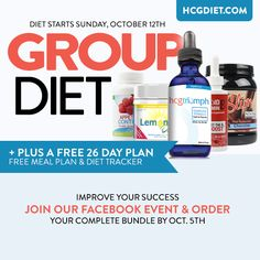 We're starting an HCG Group Diet! Start at the same time as us to get support from other dieters and share experiences. Plus, when you sign up you'll receive a free menu, a free recipe book and a free diet tracker! Loading day #1 is October 12th. Click for more info!