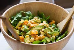 Arugula Salad with Mango, Macadamia Nuts, & Avocado