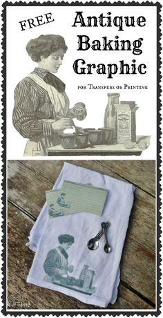 Printable Recipe Cards & Antique Graphic for Iron-on Transfer via KnickofTime.net