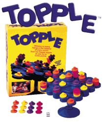 Topple-take turns balancing the pieces but don't let it fall! Great for fine motor, turn taking, and color labeling