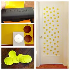 Vinyl wall decals. Steps  1) Run vinyl (about 1/2 a yard) through Xyron using repositionable adhesive.  2) use circle punch (I used a 2 1/2 punch) to punch out circles  3) remove adhesive and stick on wall or door. It's that easy!  4) Enjoy!!!!