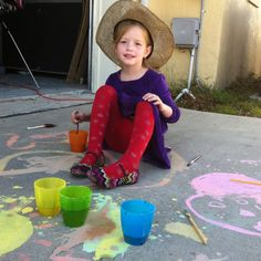 Sidewalk chalk-super easy and fun!! 4T water, 2T corn starch and food coloring as desired.