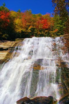 Fall at Rainbow Falls at Gorges State Park in North Carolina, near Brevard. Guide: http://www.romanticasheville.com/rainbow_falls.htm