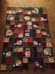 Snowman Rag Quilt, flannel