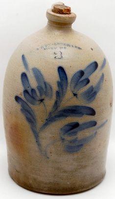 Pfaltzgraff-two-gallon-flower-decorated-stoneware-jug vintage, stonewar vintag, crock, cobaltdecor stonewar, antiqu