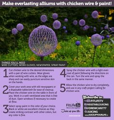 Make Everlasting Alliums with Chicken Wire & Paint! garden diy, chicken wire allium, garden art, dream garden, colors, everlast allium, gardens, diy allium, everlast color