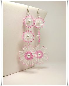 Long beaded white and pink earrings beads by Zigettasstyle on Etsy, $38.00