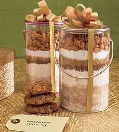 This cookie mix recipe makes a great  holiday food gift in less than 30 minutes. Decorate the jar to make an extra special presentation.