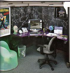 Chalkboard Cube #office #cubicle #designs