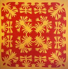 Unnamed Floral Pattern Hawaiian Quilt (before 1918). Posted at ArtQuill