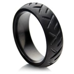 Tire Wedding Band | Zirconium wedding ring with tire track design | Shop accessories ...