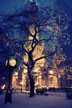 Like christmas time, tower, tree, dream, snow, winter wonderland, christmas lights, chicago, place
