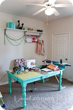 sewing room!! I LOVE this table.