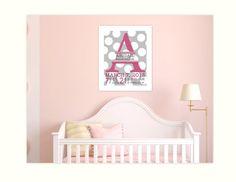Baby girl nursery, monogram nursery art, polka dot,  new baby birth stats, pink grey nursery print 8x10 via Etsy