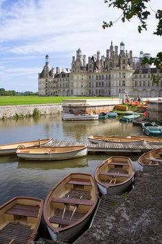 Rowboats at Château de Chambord, Loire Valley, France