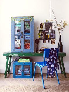 cabinets, interior, blue, green, book storage, inspir, desk, home offices, workspac