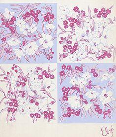 Textile Design of Floral Pattern by Elza Sunderland, circa 1940
